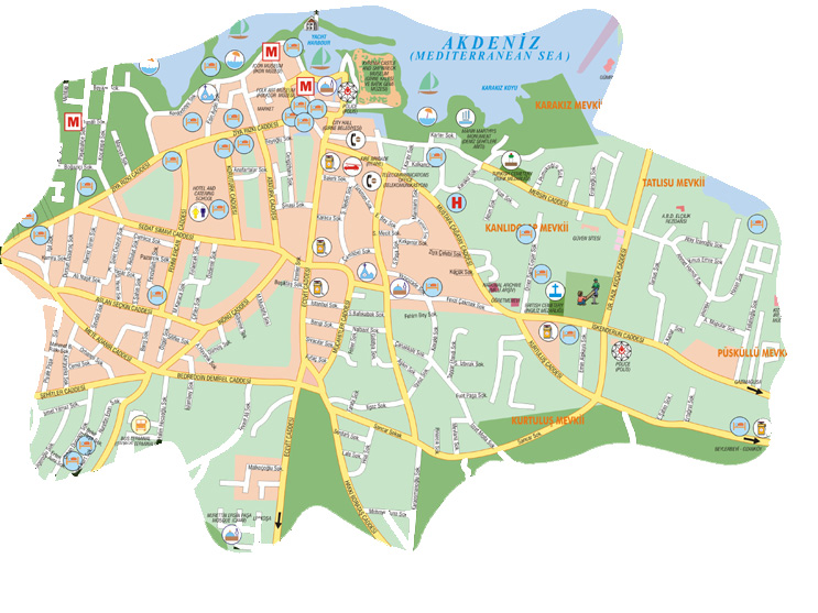 Map of North Cyprus, road and street maps of Kyrenia, Famagusta